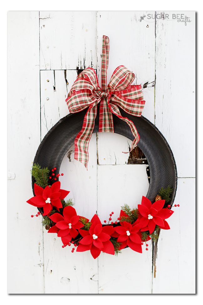 tire holiday wreath diy