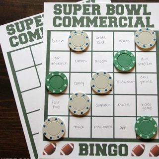 Super Bowl Party Game Commercial Bingo featured