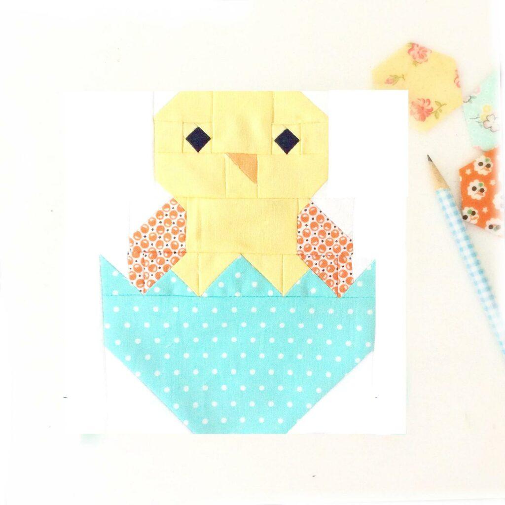 Baby chick chicken quilt block idea