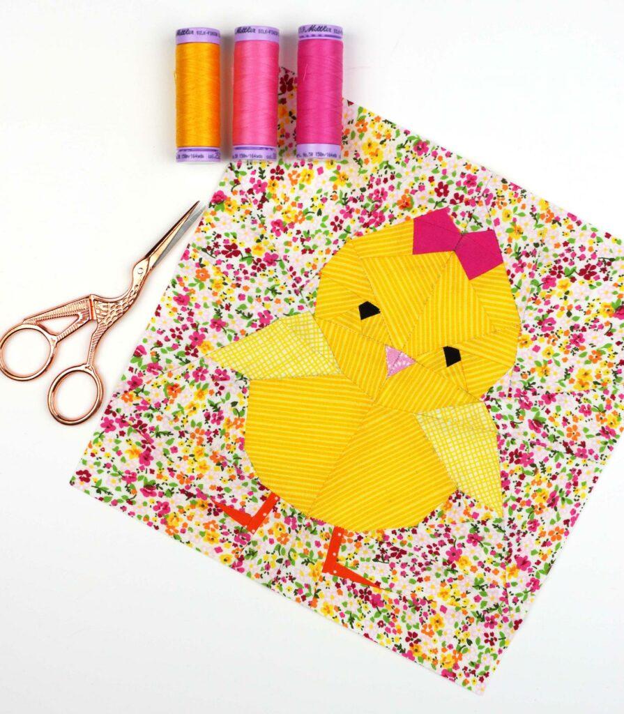 Chick chicken quilt block pattern idea