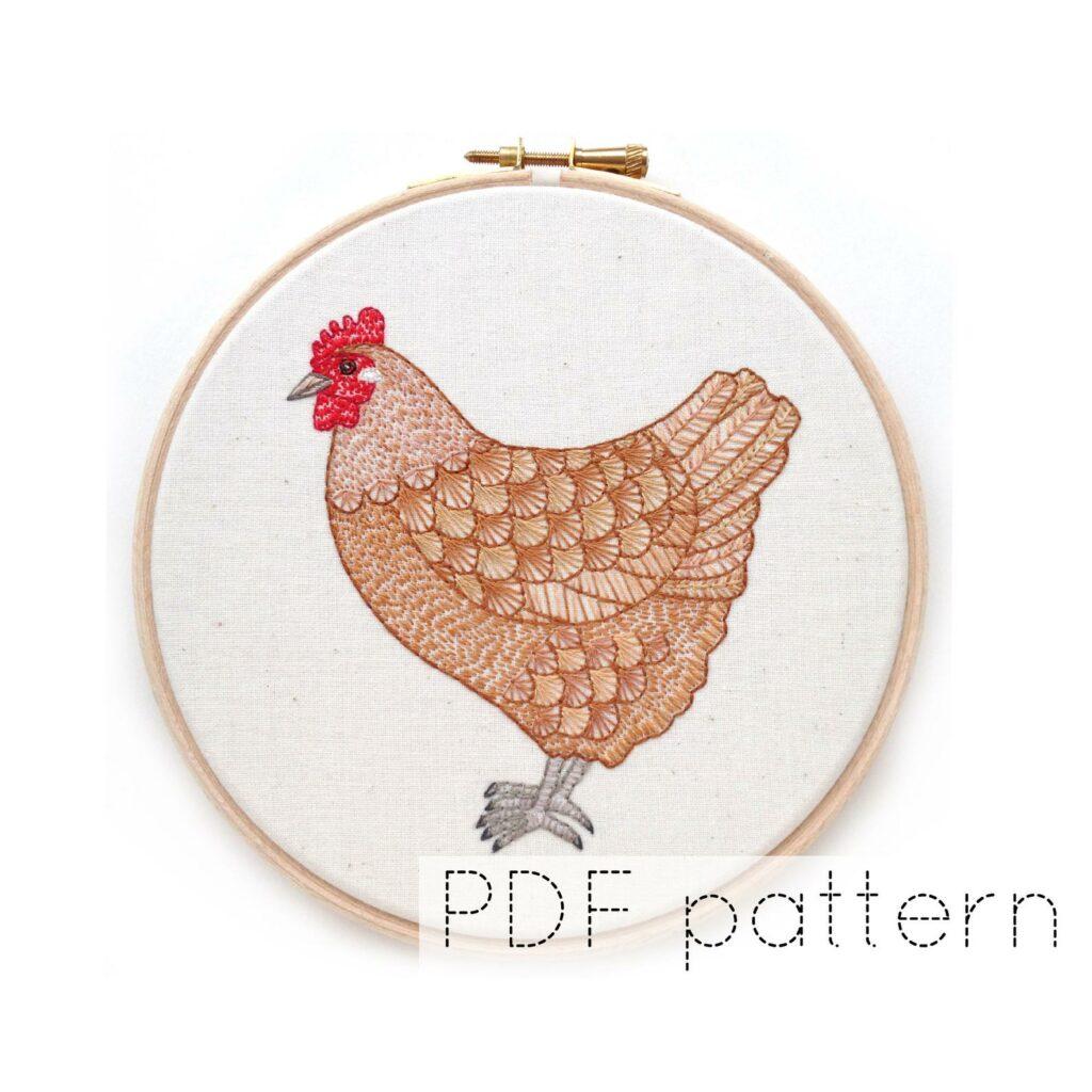 Chicken embroidery craft idea