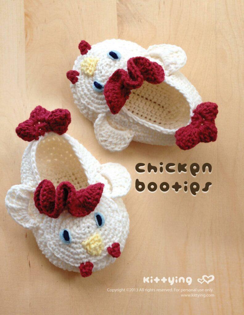 Crochet chicken booties