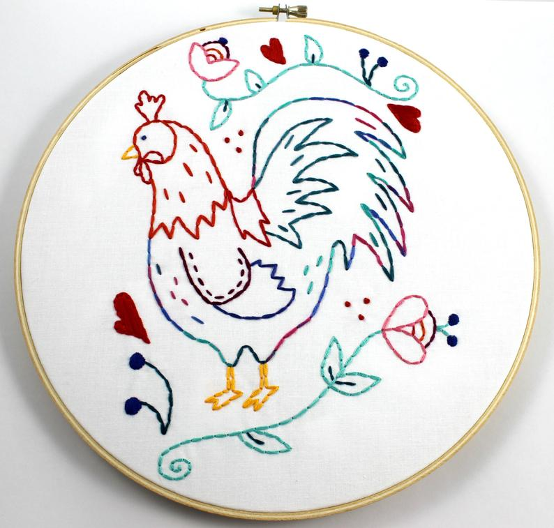 Embroidery pattern rooster chicken