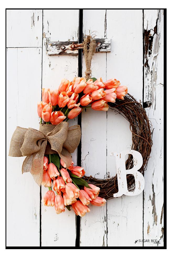 handmade spring tulip wreath