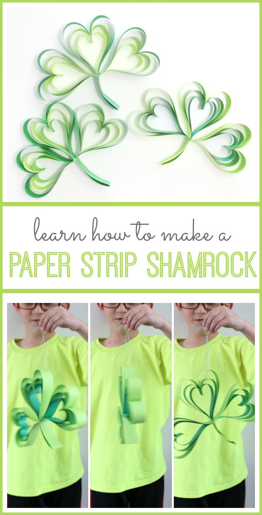 how to make a paper strip shamrock