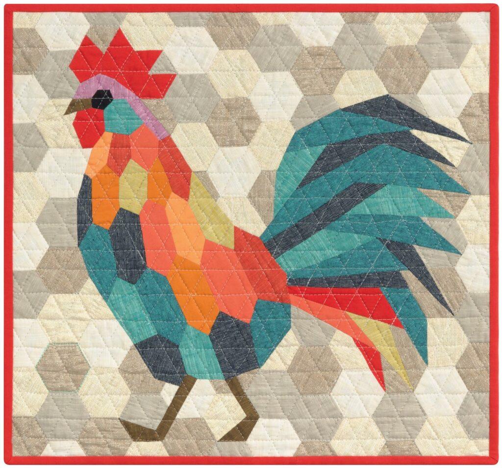 Rooster chicken quilt pattern piecing idea