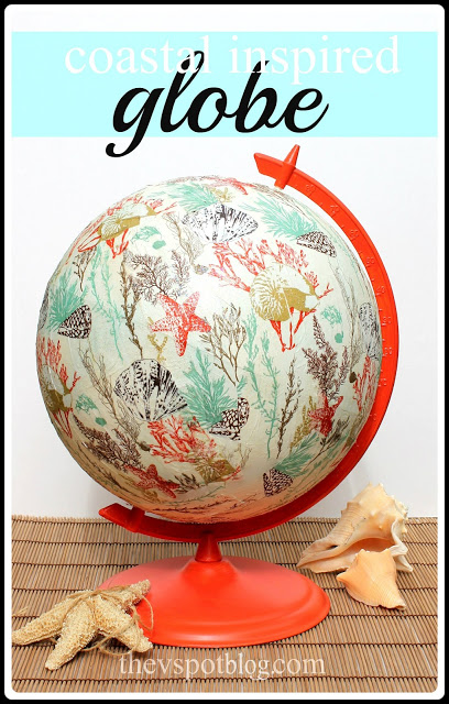 coastal inspired globe makeover using paper napkins & Mod Podge