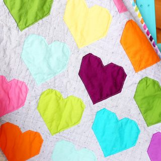 Colorful modern heart rainbow quilt simple