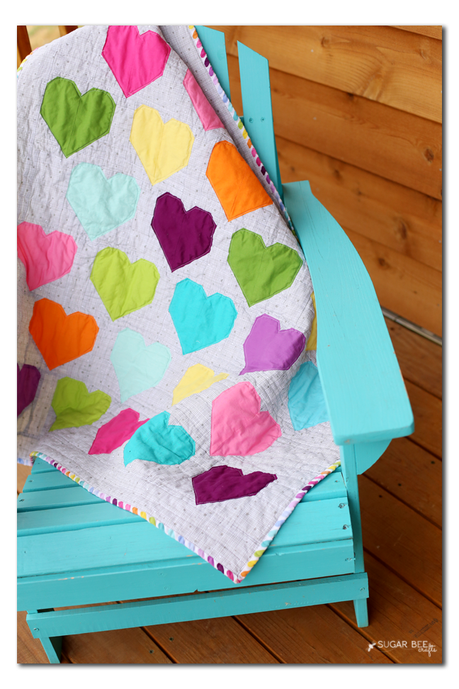 colorful modern rainbow heart quilt no crop copy
