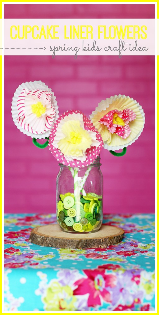 spring kids craft idea cupcake liner flowers - sugar bee crafts