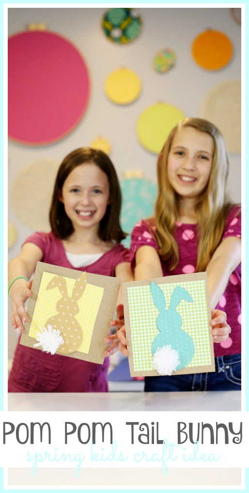 spring kids craft idea pom pom tail bunny