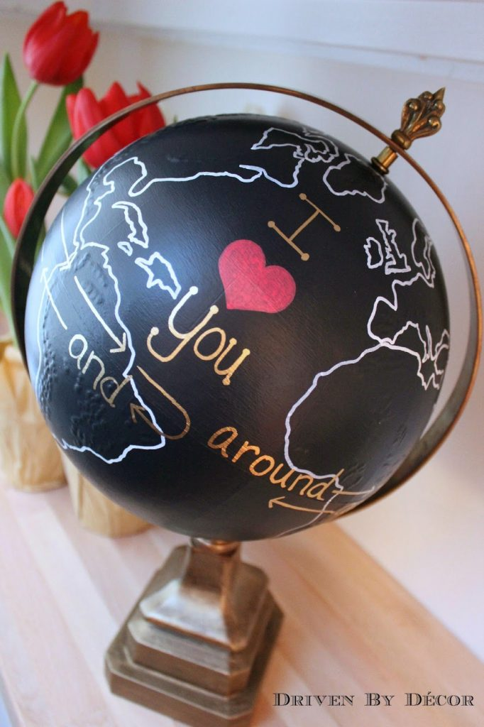valentines chalkboard globe project I love you around the world WM
