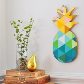 How to paint a geometric pineapple on wood madeinaday com 650x578