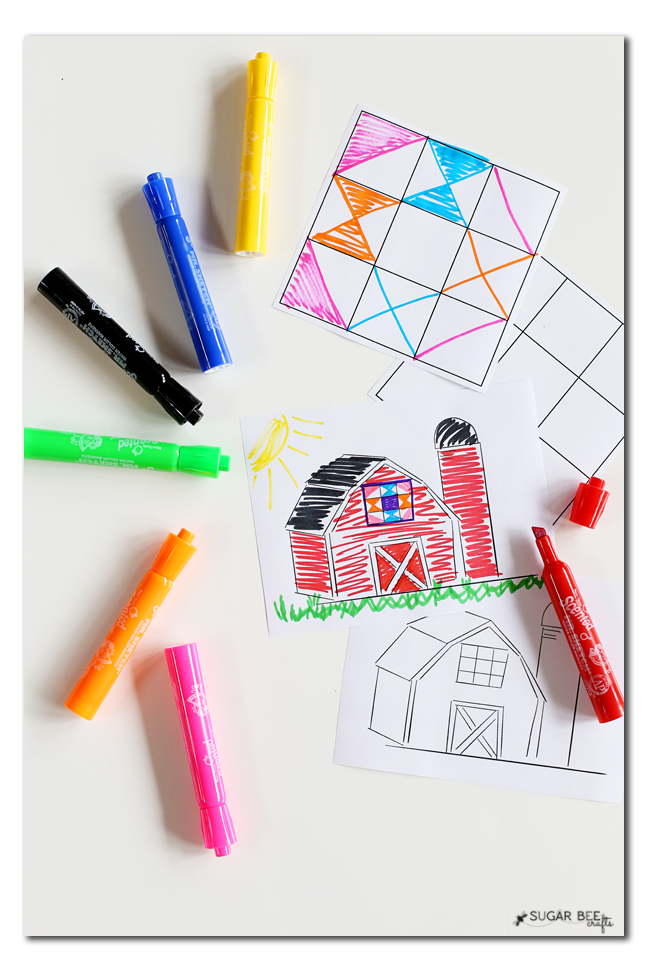 barn quilt coloring sheet free printable