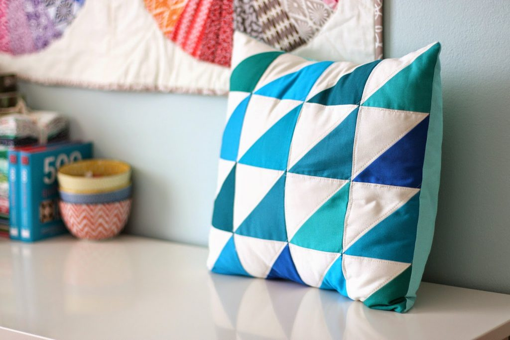 Kona-half-square-triangle-pillow