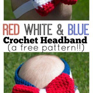 Red White and Blue Crochet Headband