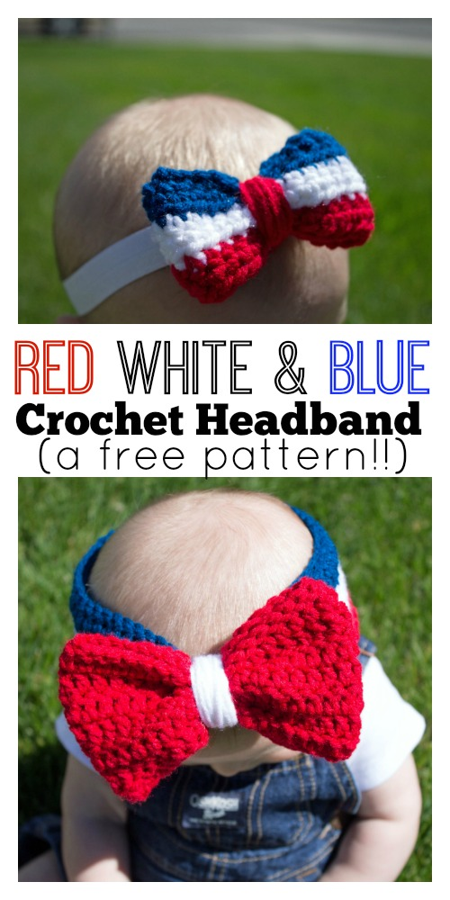 Red White And Blue Crochet Headband Sugar Bee Crafts