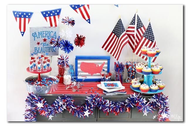 red white and blue candy tablescape