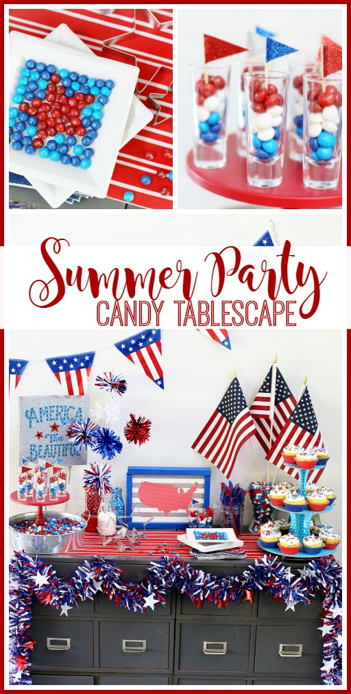 summer party candy tablescape