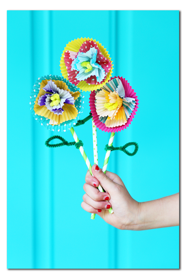 kids craft cupcake liner flowers diy