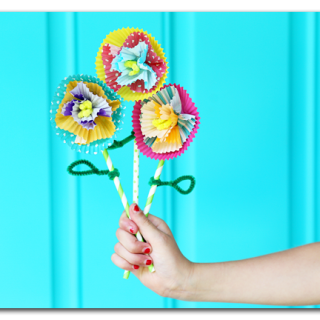 kids craft paper flowers cupcake