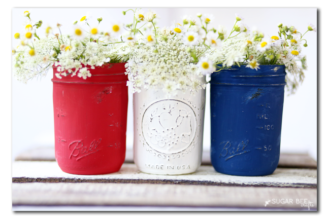 patriotic distressed mason jars