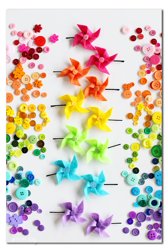 rainbow felt pinwheel hair pin craft