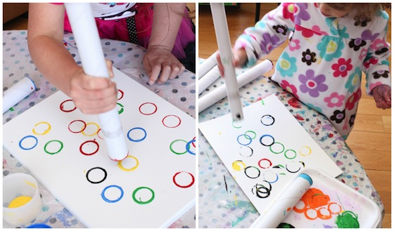 Stamping-Olympic-rings-with-cardboard-rolls