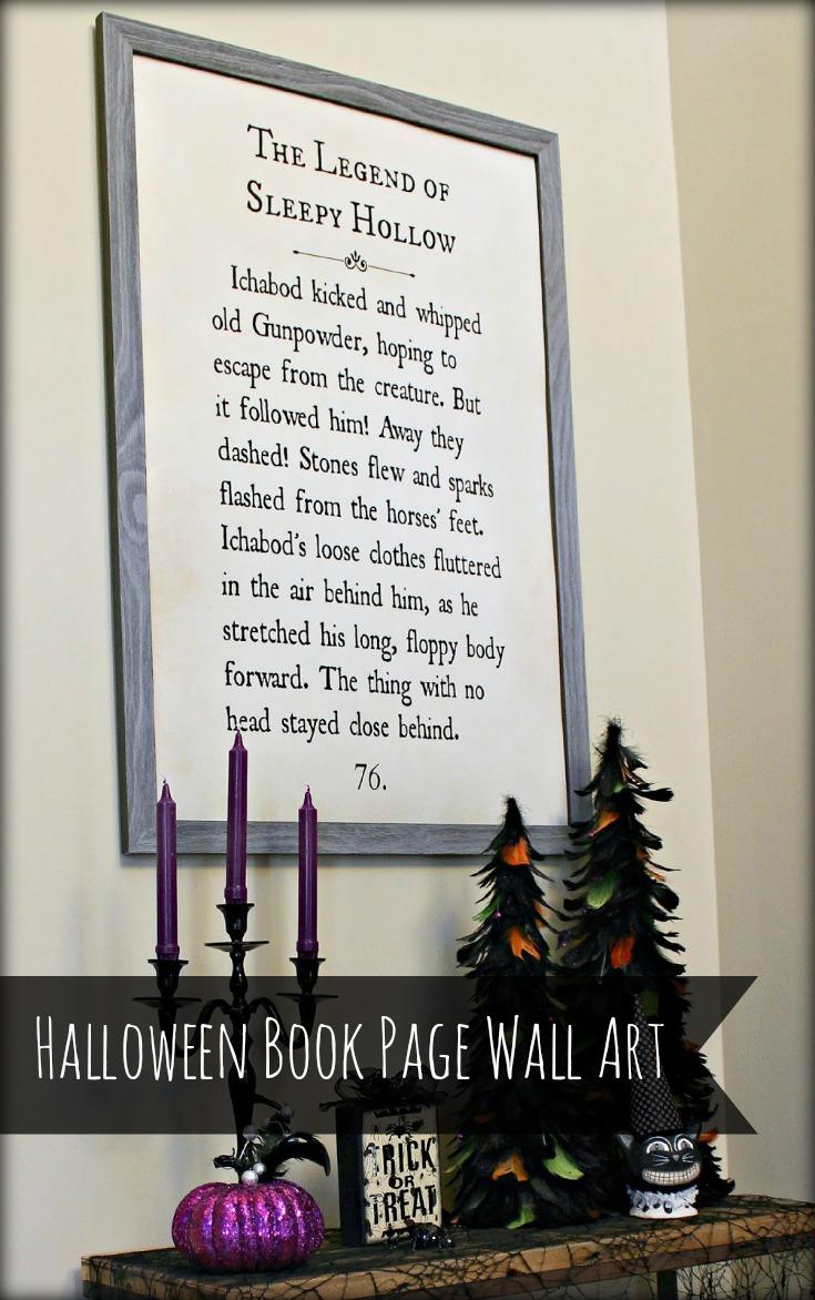 HalloweenBookPageWallArt