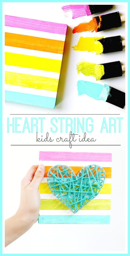 heart string art kids craft idea