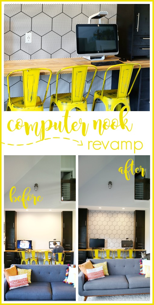 modern wallpaper decor idea, computer nook revamp