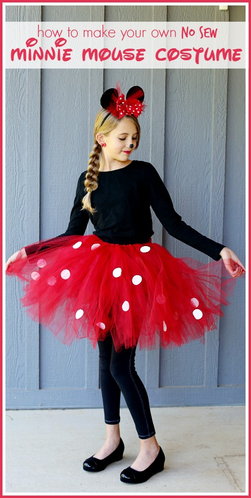Super Simple No Sew Minnie Mouse Costume Diy