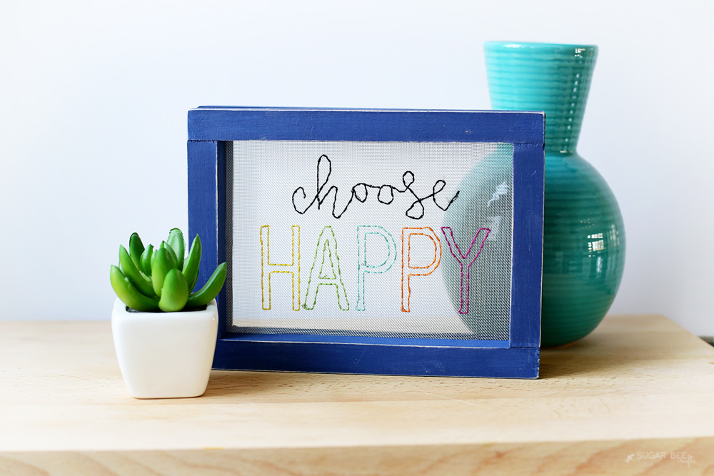 Choose Happy Mesh Embroidery