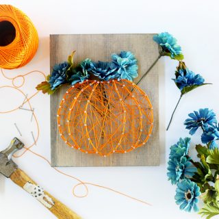 Fall pumpkin string art