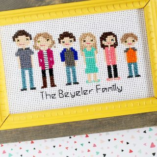 Stitch people cross stitch custom frame option