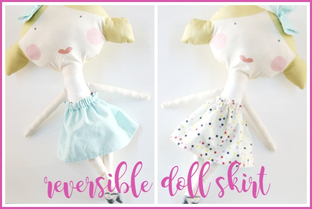 Reversible doll skirt flipped