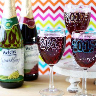 Sparkling grape juice new years kids idea
