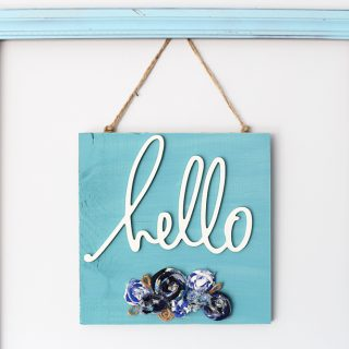 Diy hello decor plaque sign