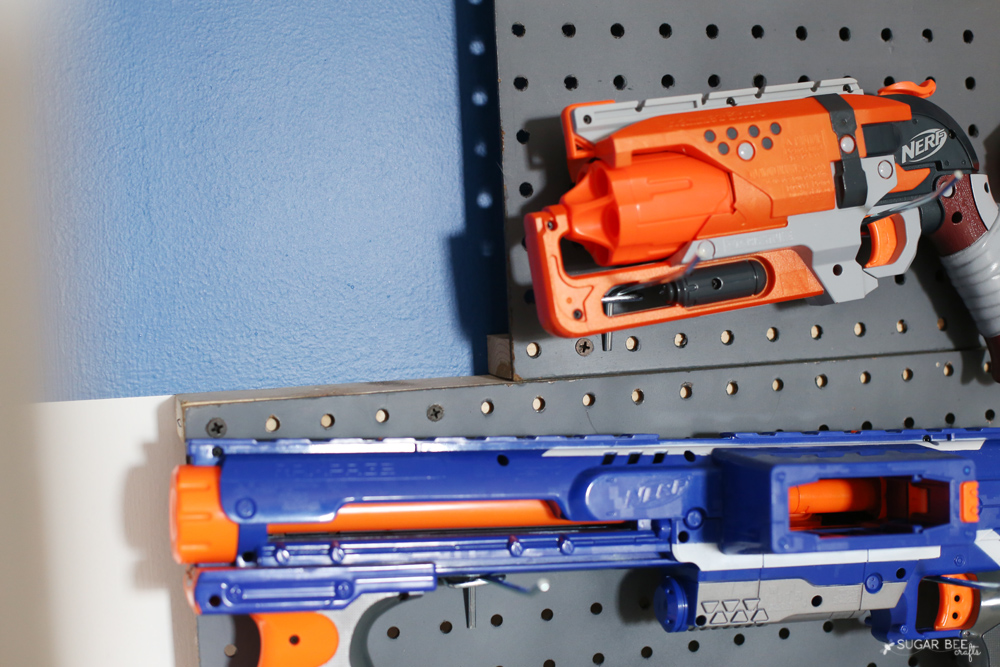how to hang pegboard for nerf wall storage