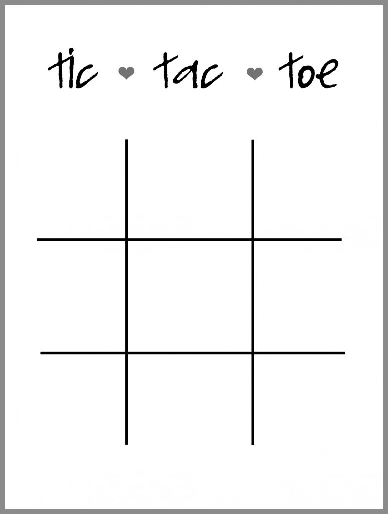 Lucrative image regarding tic tac toe valentine printable