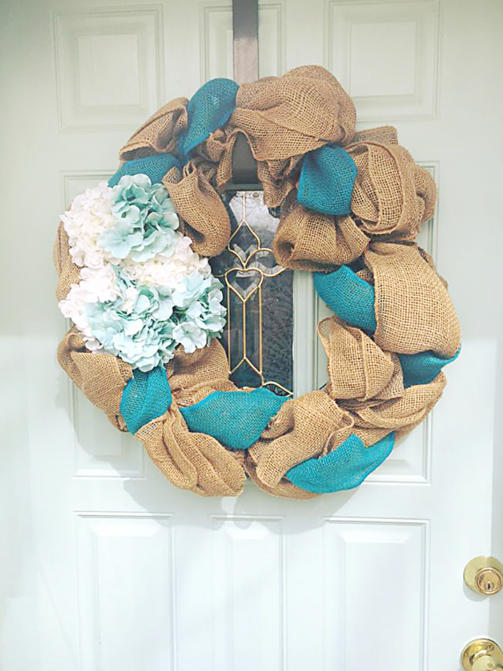 blue burlap spring wreath