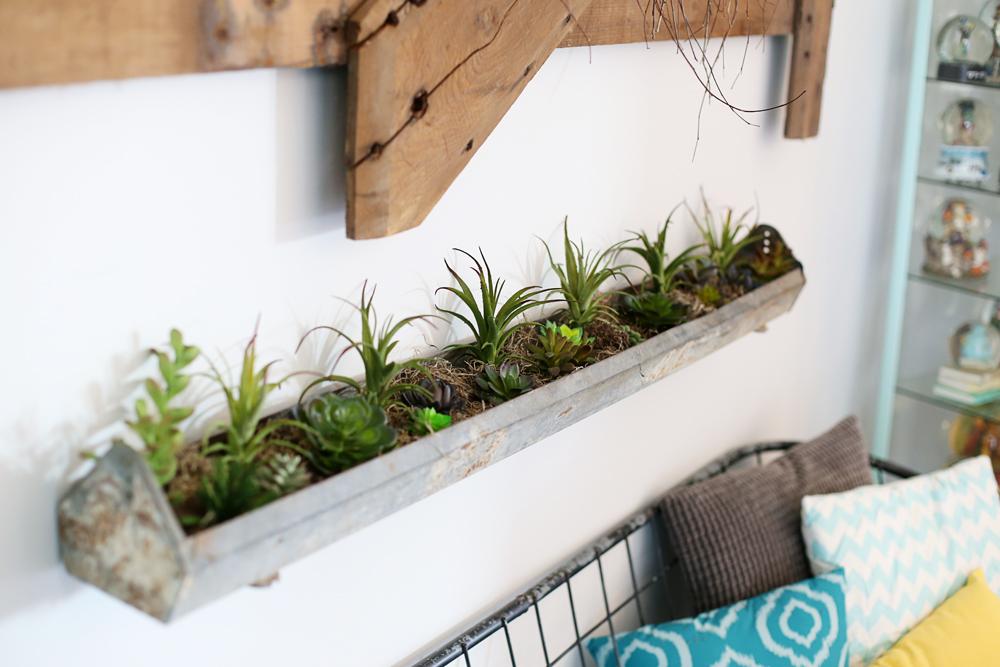 faux succulent feeder planter