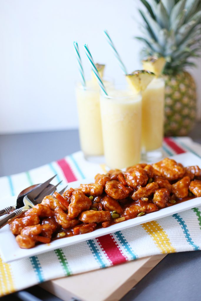 orange chicken with pineapple drink