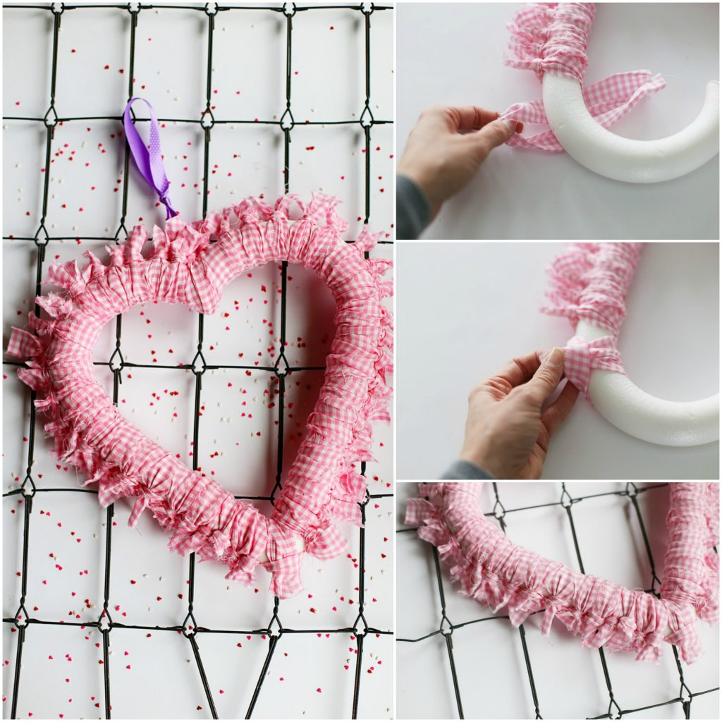 tie fabric heart wreath collage
