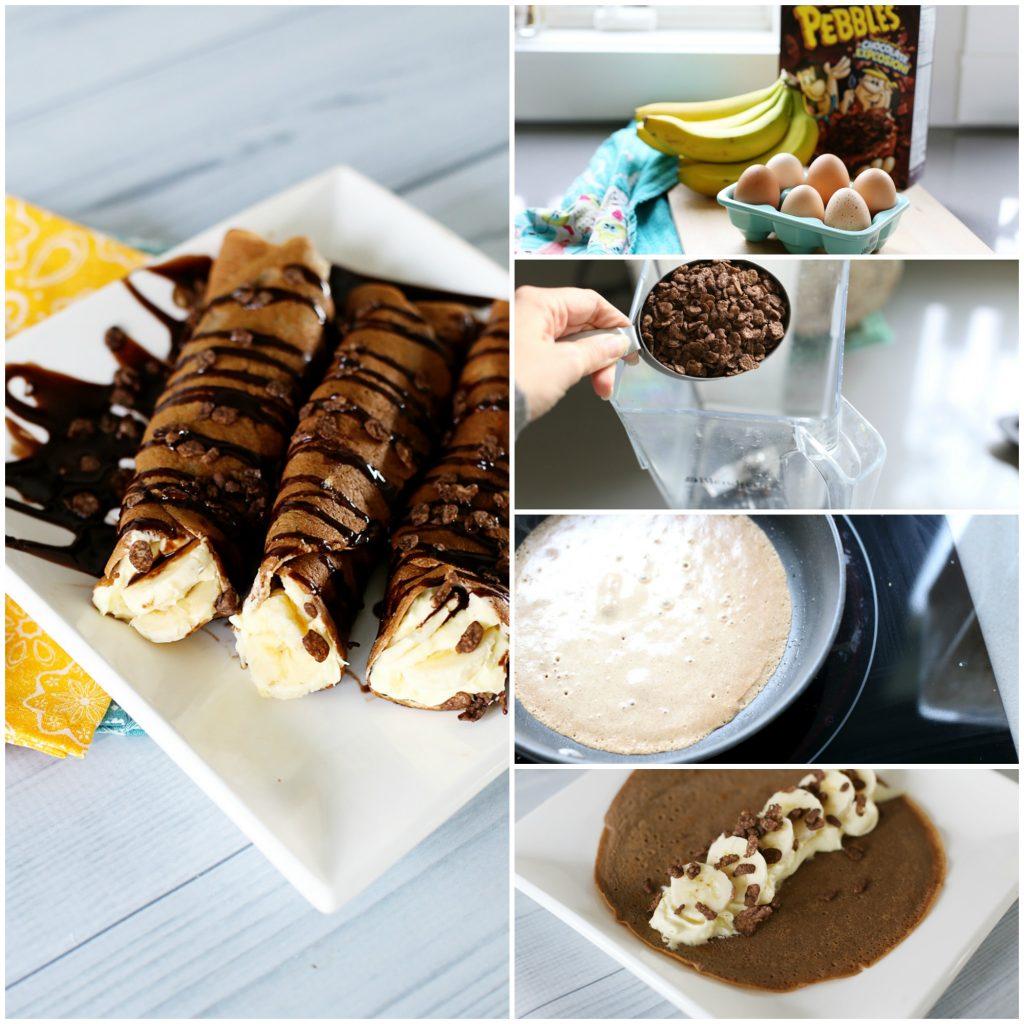 chocolate banana crepe collage