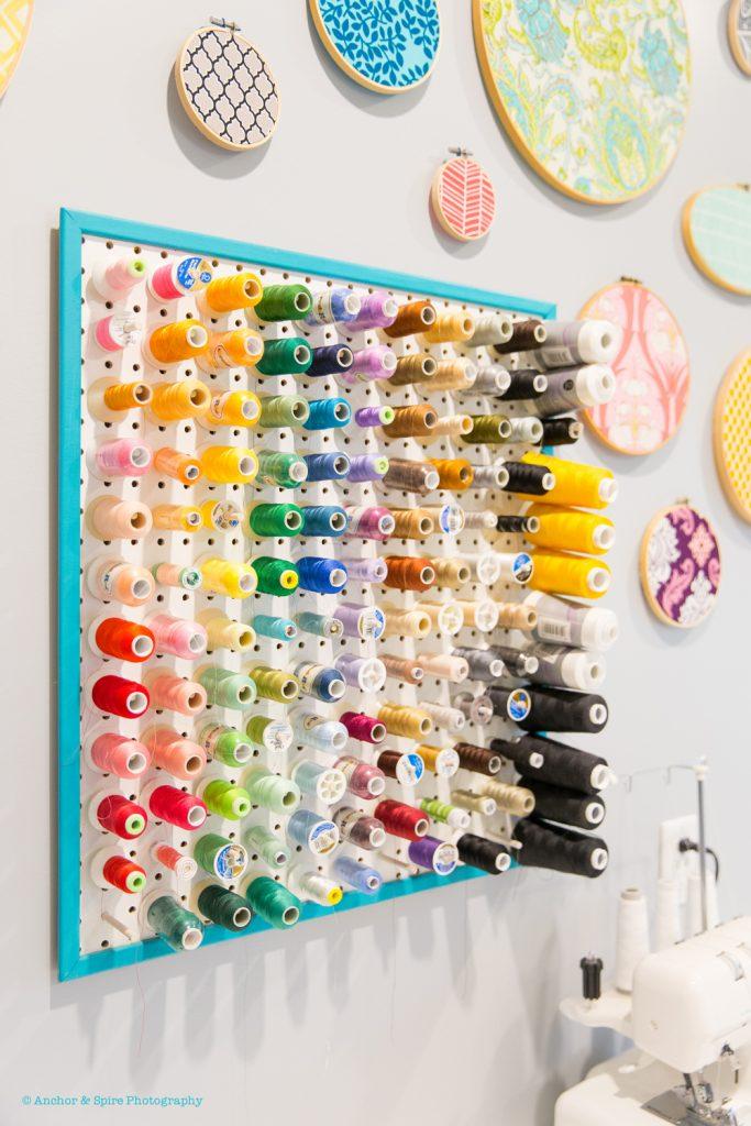 craft room thread wall