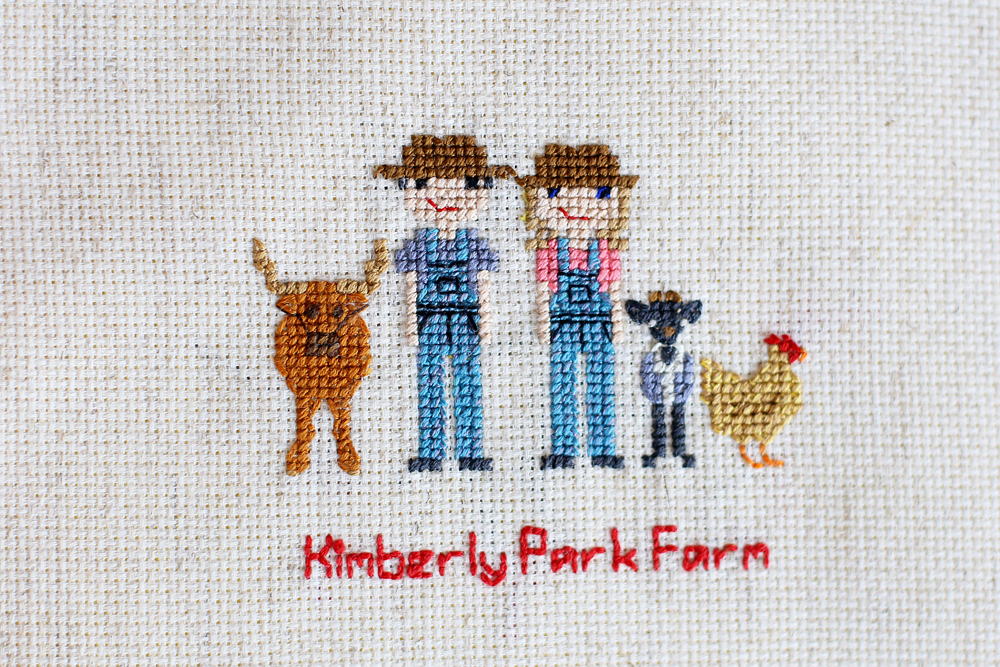 cross stitch people farm