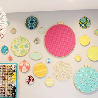 Fabric hoop wall decor long