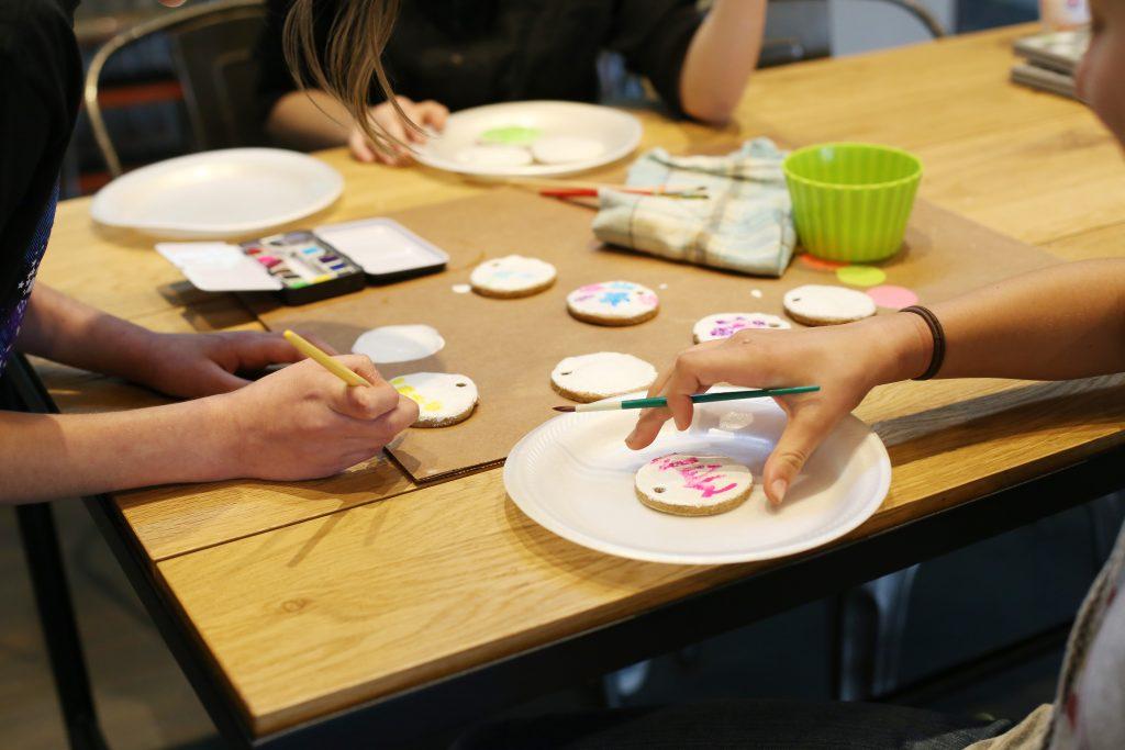 painted salt dough cinnamon tags