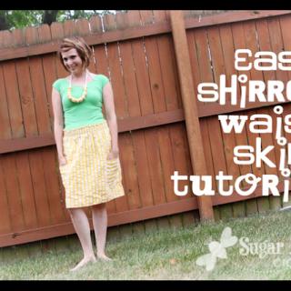 Shirred Pocket Skirt (and Serger hints)